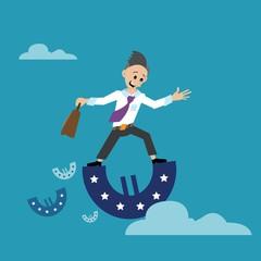 abstract, businessman teetering on the monetary Euro sign. vector illustration of cartoon