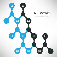 Connections - Black and Blue Digital Network Design Concept With Connected Icons Layout - Technology Template Illustration