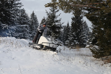 winter extreme sports snowmobile