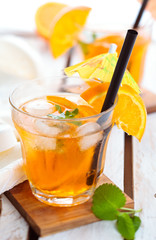 Orange lemonade with mint.