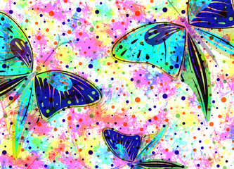Hand drawn textured artistic background with insect. Creative wallpaper with  butterflies in rainbow colors. Decorative watercolor horizontal banner. Series of Drawn Artistic, Creative Backgrounds.