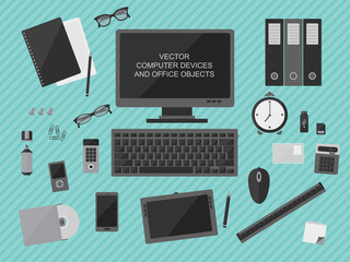 Vector computer devices and office objects