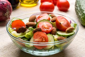 vegetable salad in glass bowl
