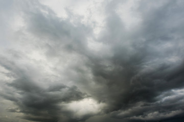 Dramatic bladk clouds, Dark storm cloud befor rainy, Black and high contrast cloud background