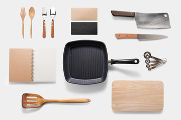 Design concept of mockup arious kitchenware utensils set