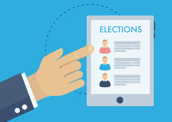 Voting advice application, politics and elections illustration, choosing candidate