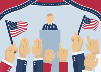 USA elections party, election day campaign, politics and elections concept