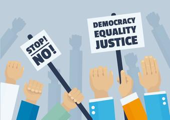 Political demonstration, hands holding signs of protest, politics concept