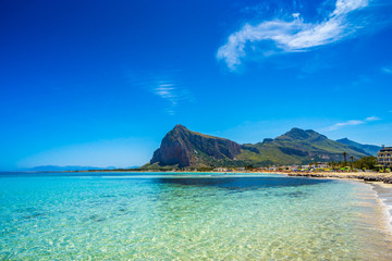 San Vito lo Capo beach and Monte Monaco in background, north-wes