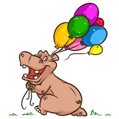 Hippo celebration balloons cartoon illustration isolated image animal character