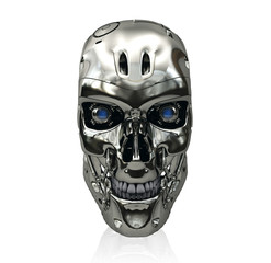 Robot skull with metallic surface and blue glowing eyes smiling isolated on white background