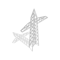 Power transmission tower icon, isometric 3d style