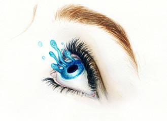 eye. abstract watercolor illustration