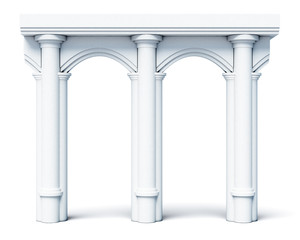 Architectural objects columns arches isolated on white background. 3d rendering.