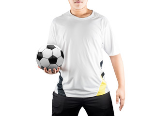 player holding ball isolated on white