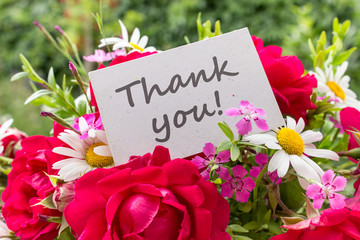 Thank you / Summer flowers and card with English text: Thank you