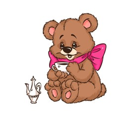 Bear drinking cup cartoon illustration isolated image animal character