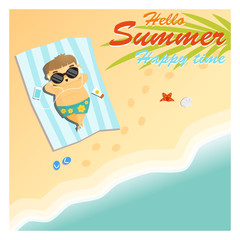 Little boy say hello to summer happy time ,vector, illustration