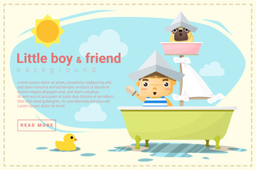 Little boy ship captain and friend background , vector, illustration