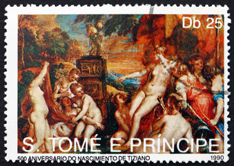 Postage stamp Sao Tome and Principe 1990 Nymphos, by Titian
