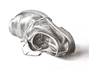 Shoe. Realistic hand drawing with pencil on paper