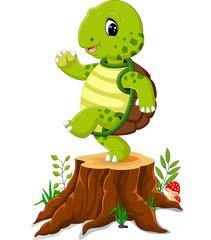 Cartoon turtle posing on tree stump