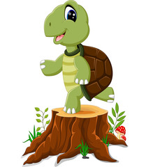 Cartoon turtle posing on tree stump