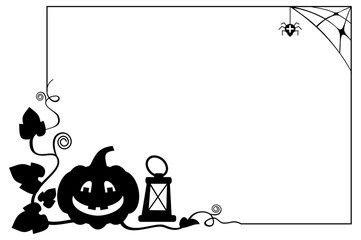 Black and white  frame with Halloween pumpkin silhouette. Vector clip art.