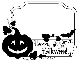 "Black and white  frame with Halloween pumpkin and text ""Happy Halloween!"" Vector clip art."