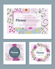 Set of invitation cards with colorful flowers ,vector, illustration