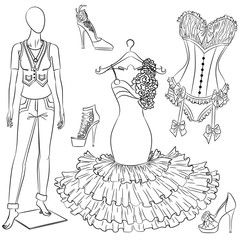 A set of fashion accessories. Women's clothing and shoes