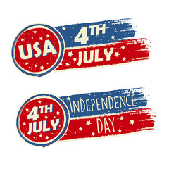 USA Independence Day and 4th of July with stars in drawing banne