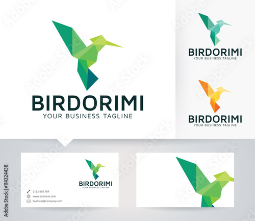 Bird Origami Vector Logo With Business Card Template Stock Image