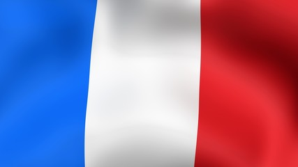 Flag of France, fluttering in the wind.