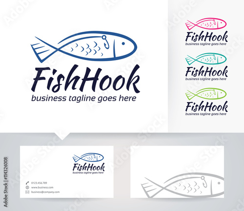 Fish hook vector logo with business card template stock image and fish hook vector logo with business card template colourmoves