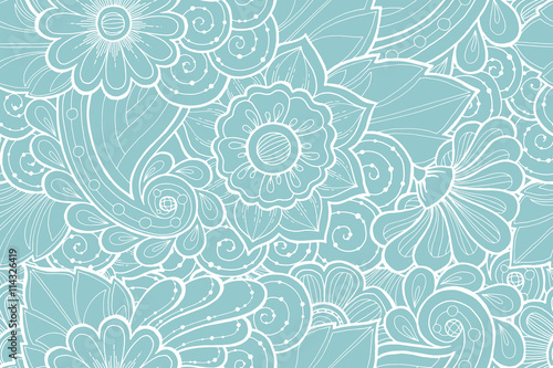 Seamless Pattern With Stylized Flowers Ornate Zentangle Seamless
