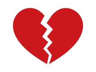 Heartbreak / broken heart or divorce flat icon for apps and websites