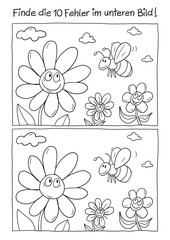 Fehlerbild Blumen und Biene