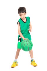 Little boy playing greea basketball in green PE uniform sport  on white background