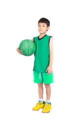 Little boy playing greea basketball in green PE uniform sport wi