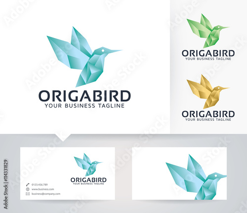 Origami Bird Vector Logo With Business Card Template Stock Image
