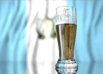 a glass of beer in front a guatemalan flag. 3D illustration rendering.