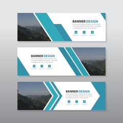 Blue abstract corporate business banner template, horizontal advertising business banner layout template flat design set clean modern geometric abstract background layout
