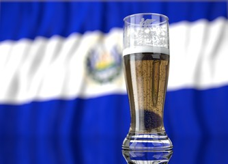 a glass of beer in front a salvadoran flag. 3D illustration rendering.
