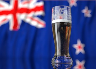 a glass of beer in front a new zealand flag. 3D illustration rendering.