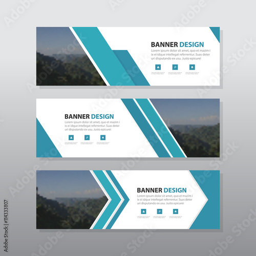 Blue abstract corporate business banner template horizontal blue abstract corporate business banner template horizontal advertising business banner layout template flat design set fbccfo Choice Image
