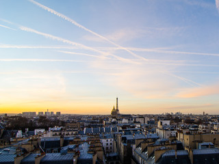 Overlooking the rooftops of Paris towards the Eiffel Tower