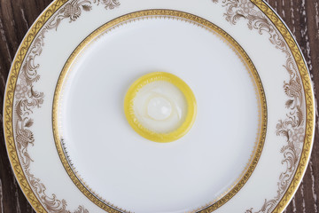 condom in a plate