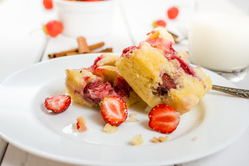 Traditional pie with strawberry