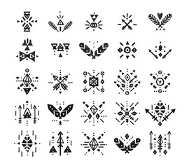 Handdrawn tribal patterns with line, arrow, feathers, decorative elements, boho symbols Aztec style. Boho pattern, tribal logo, hipster shapes
